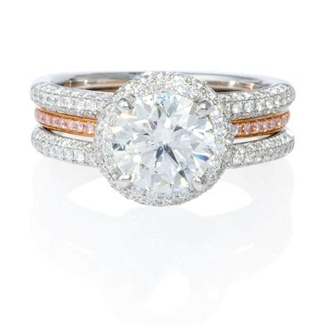 .83ct Simon G Diamond 18k Two Tone Gold Halo Engagement