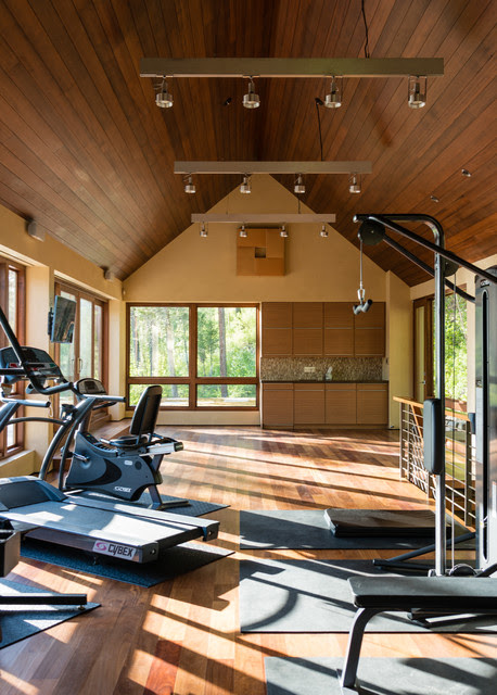 Whitefish Private Spa and Pool house - contemporary - home gym ...