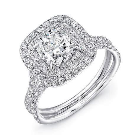 Uneek LVS914 0.65ctw Double Cushion Halo Engagement Ring