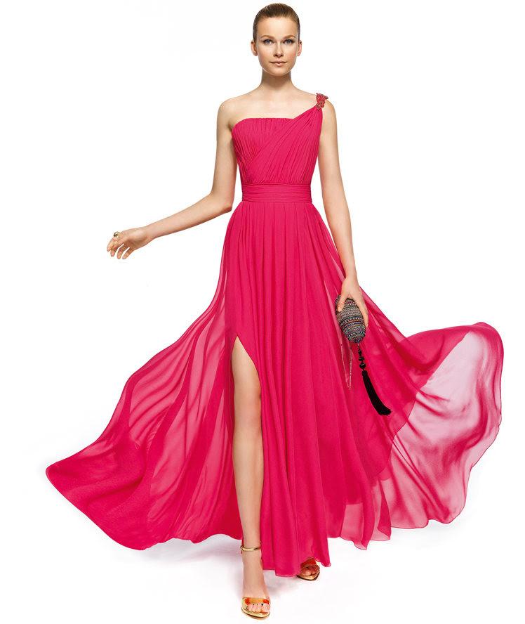 Charming A-line One Shoulder Beading Side Slit Floor-length Chiffon Cocktail Dresses _1