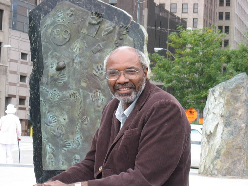 Abayomi Azikiwe, editor of the Pan-African News Wire, at the Labor Monument in Hart Plaza in downtown Detroit on September 27, 2008. (Photo: Alan Pollock). by Pan-African News Wire File Photos