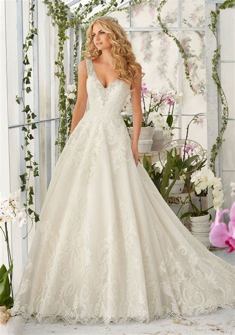 Tulle Wedding Dress with Embroidered Lace Appliques