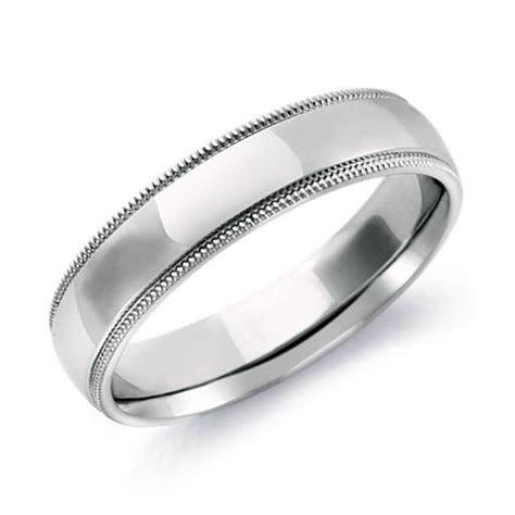 Milgrain Comfort Fit Wedding Ring in 14k White Gold (5mm