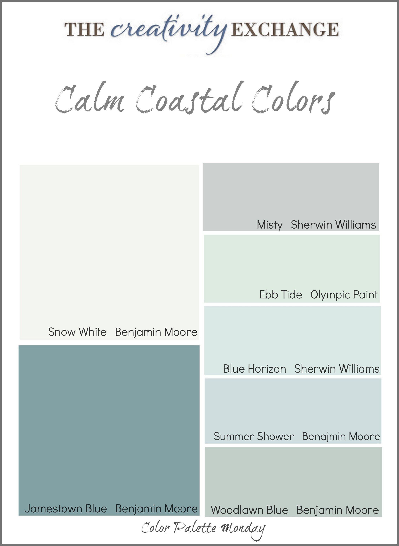 Calm Coastal Paint Colors {Color Palette Monday}