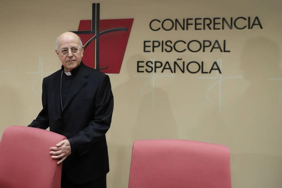 El cardenal Ricardo Blázquez, durante una comparecencia en la sede de la Conferencia Episcopal.