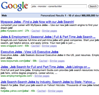 Search for jobs minus monster and careerbuilder