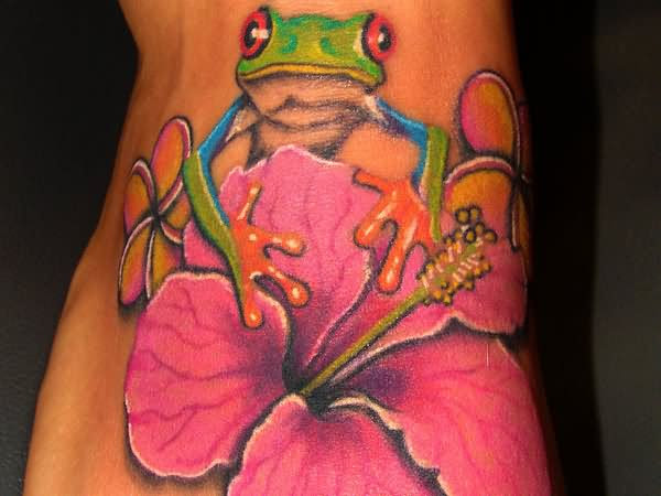 Hibiscus Flower Frog Tattoo On Foot
