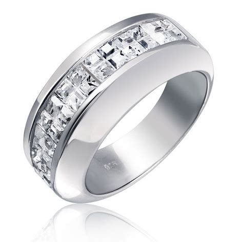 Sterling Silver Wedding Band Modern Invisible Cut CZ