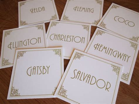 Art Deco Table Name Cards. Table Numbers, Table Names