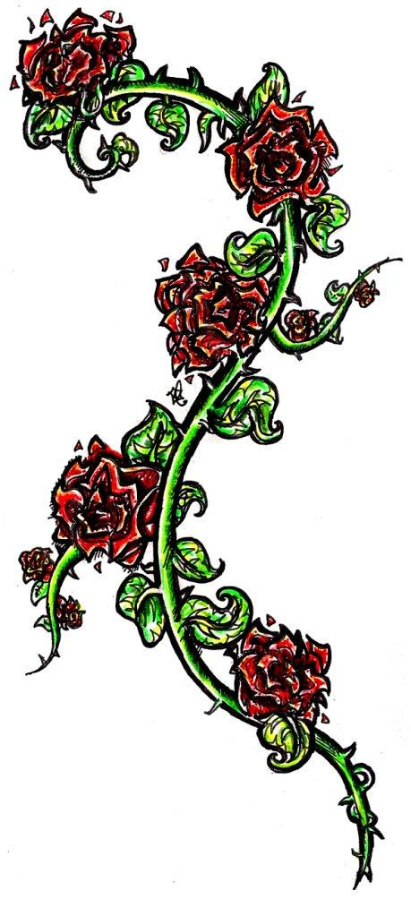 Rose Vine Tattoos Designs For Women Thorn Vines Tattoomagz