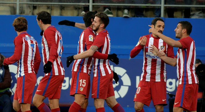 Time do Atletico de Madrid comemora gol sobre o Eibar (Foto: Reuters)