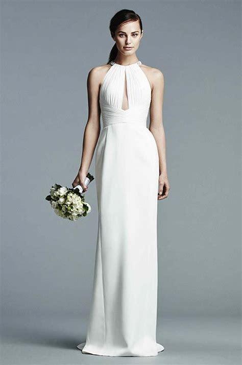 Simple Halter Wedding Dress for Older Brides Over 40, 50