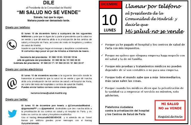 Folleto de la campaña 'Mi salud no se vende' contra la privatización de la sanidad en Madrid.