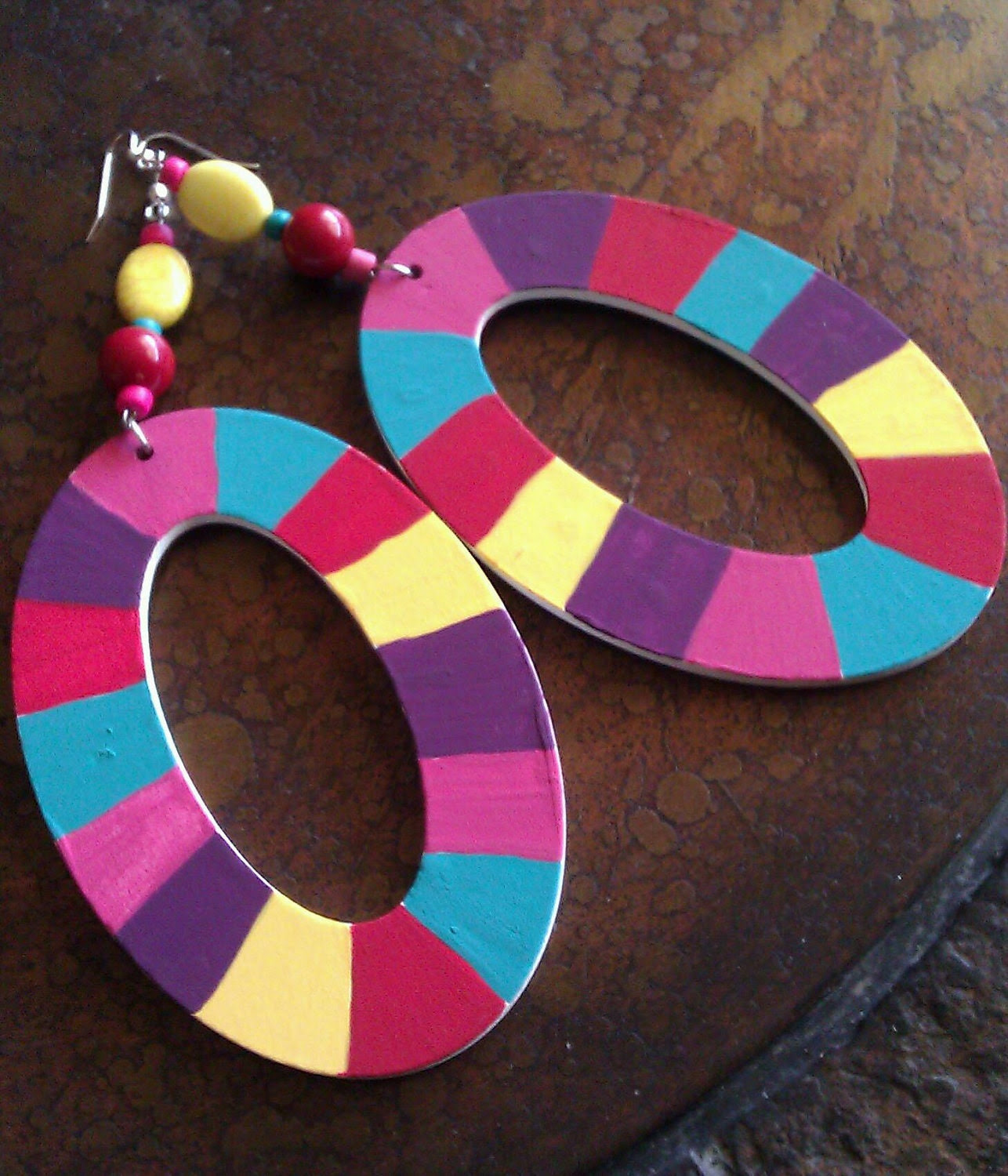 Color Blocking Hand Painted Wooden Beaded Dangle earrings