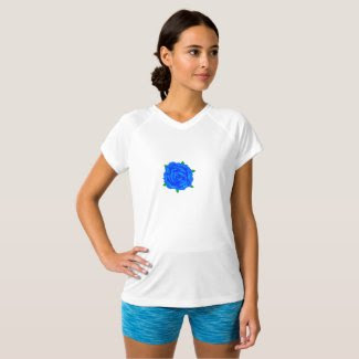 Blue Rose Design on Women's T-Shirt