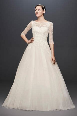 3/4 Sleeve Wedding Dress with Lace and Tulle Skirt   David