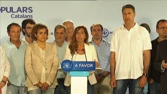 Sánchez-Camacho i la cúpula del PP català, en la compareixença en què han valorat els resultats