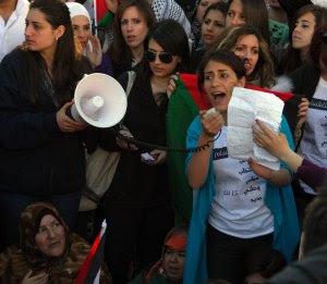 Manifestación por la unidad política en Ramallah (marzo 2011) (P. Lyden)