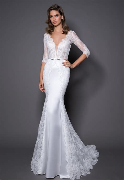 3/4 Sleeve Lace And Satin Wedding Dress With Covered