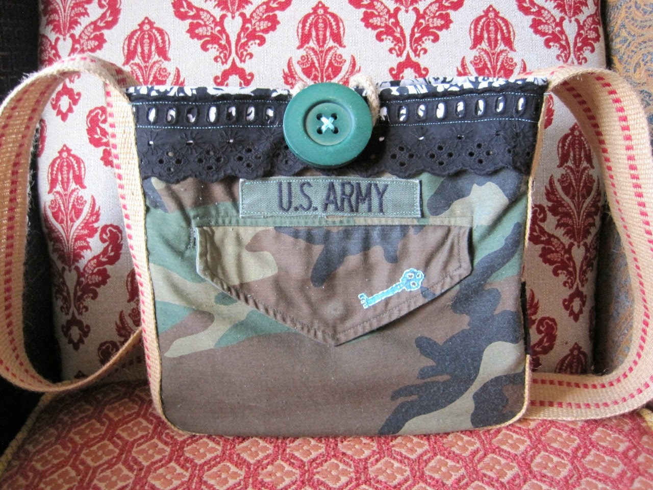 Leah Hip Bag in upcycled Army jacket, hand-stamped and stitched turquoise key, black lace, & damask print