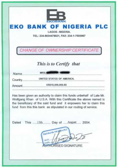 Fake Change of Ownership Certificate - Nigeria