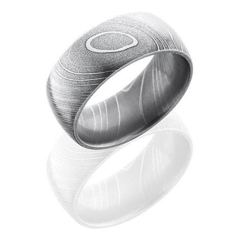 Damascus Steel 10mm Wide Domed Wedding Band   Mullen Jewelers