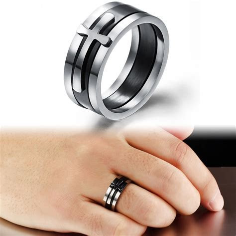 Special Three In One Design Cross Ring Men Classic Steel