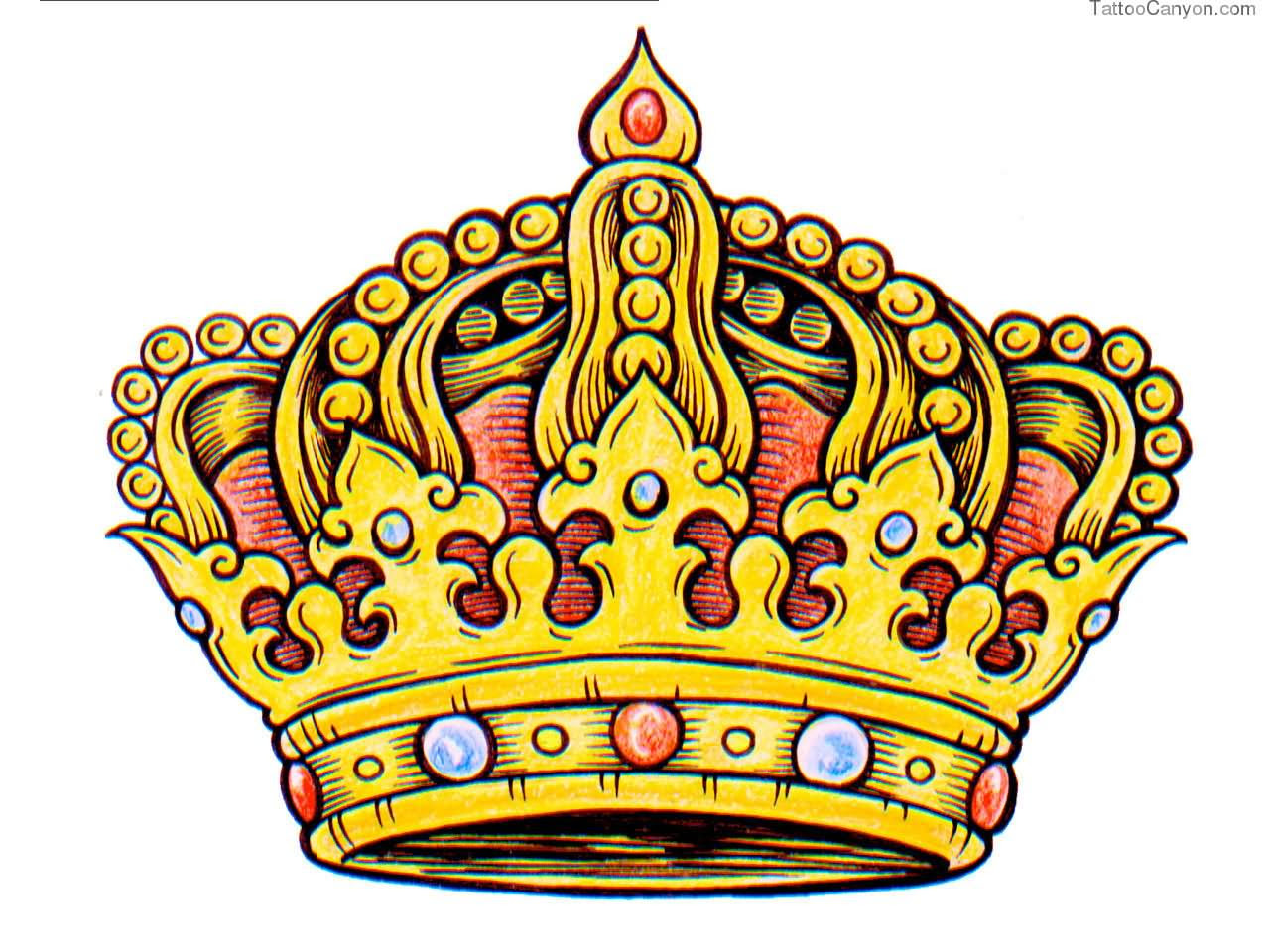 Color King Crown Tattoo Design