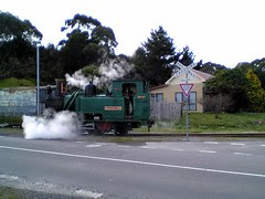 ABT steam engine crossing road
