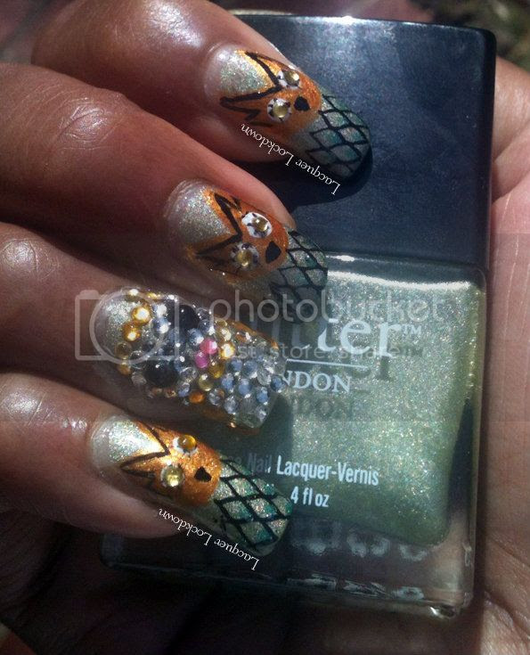 Lacquer Lockdown - Butter London Trustafarian, owls, owl nail art, Let's Do The Time Warp Challenge, owl manicure, bling, rhinestones, nail art, dandy nails look around, Cm Nail Art, Revlon Quick Dry Base Coat, IMN Out The Door