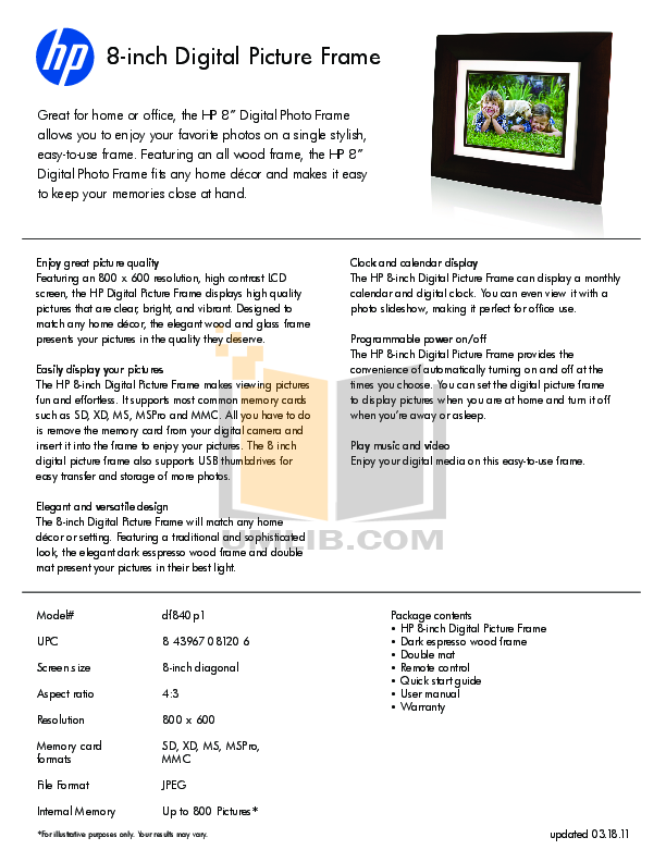 Hp 8 Inch Digital Picture Frame Picture Frame Ideas