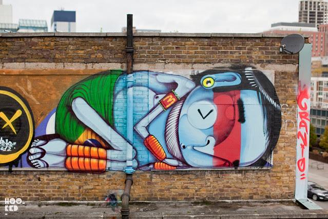 Brazilian street artist Cranio London Mural Work in Shoreditch