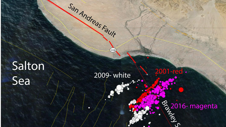 An image provided by Caltech seismologist Egill Hauksson shows the earthquake swarms of 2001, 2009 and 2016 in the Salton Sea. Scientists worry that earthquakes near the southern end of the San Andreas fault could trigger a large earthquake on California's longest fault.