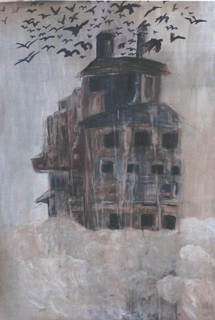 Η χώρα πάνω στα σύννεφα. Μαύρα πουλιά («Πουλιά της δυστυχίας» - Διονύσης  Σαββόπουλος) από πάνω της. Αναφορά στην αγαπημένη ταινία των εφηβικών μου χρόνων  «Πουλιά» του Άλφρεντ Χίτσκοκ.
