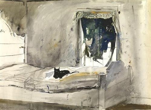 sugarmeows:  Andrew Wyeth, Christina's Bedroom, 1947.