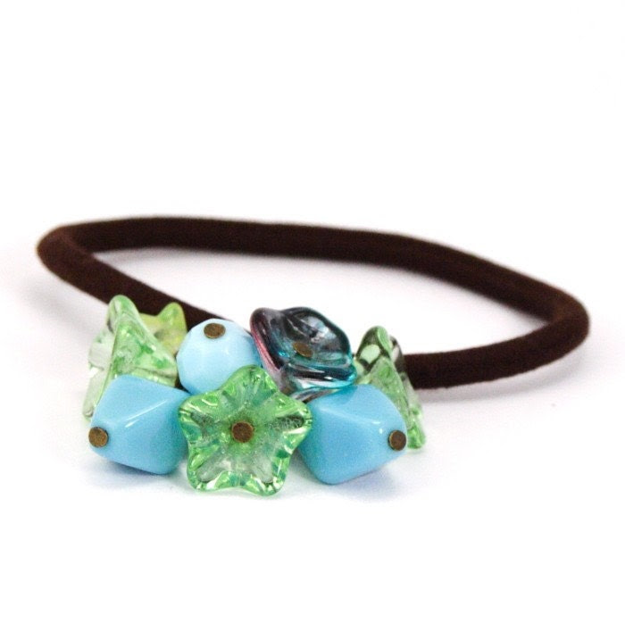 Turquoise Blue and Green Hair Elastic - Great Easter Gift