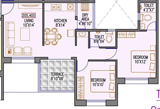 610 sq.ft. Carpet + Terrace - 2 BHK Flat for Rs. 25 Lakhs at Urbangram Kirkatwadi on Sinhagad Road Pune 411 024 - C2 2nd & 4th Floor