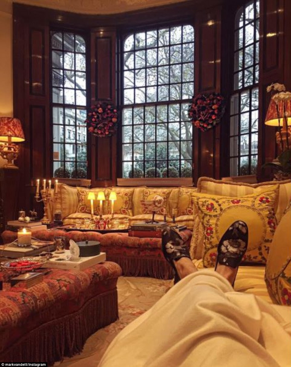 And Made in Chelsea'sMark Vandelli put up his loafered feet in a luxurious living room in the wealthy Knightsbridge district in London