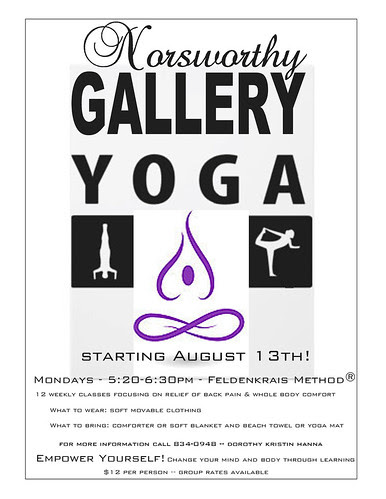 Texas St yoga with Dorothy Kristin Hanna at Norsworthy Gallery on Mons, 5:20 - 6:30 pm by trudeau