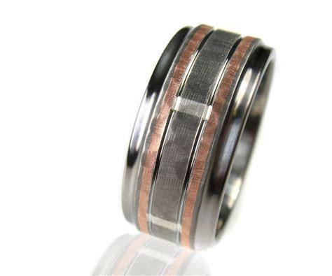 Buy a Custom Hammered Titanium Silver Rose Gold Wedding