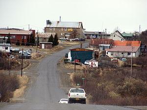 view of the town of Naknek, AK