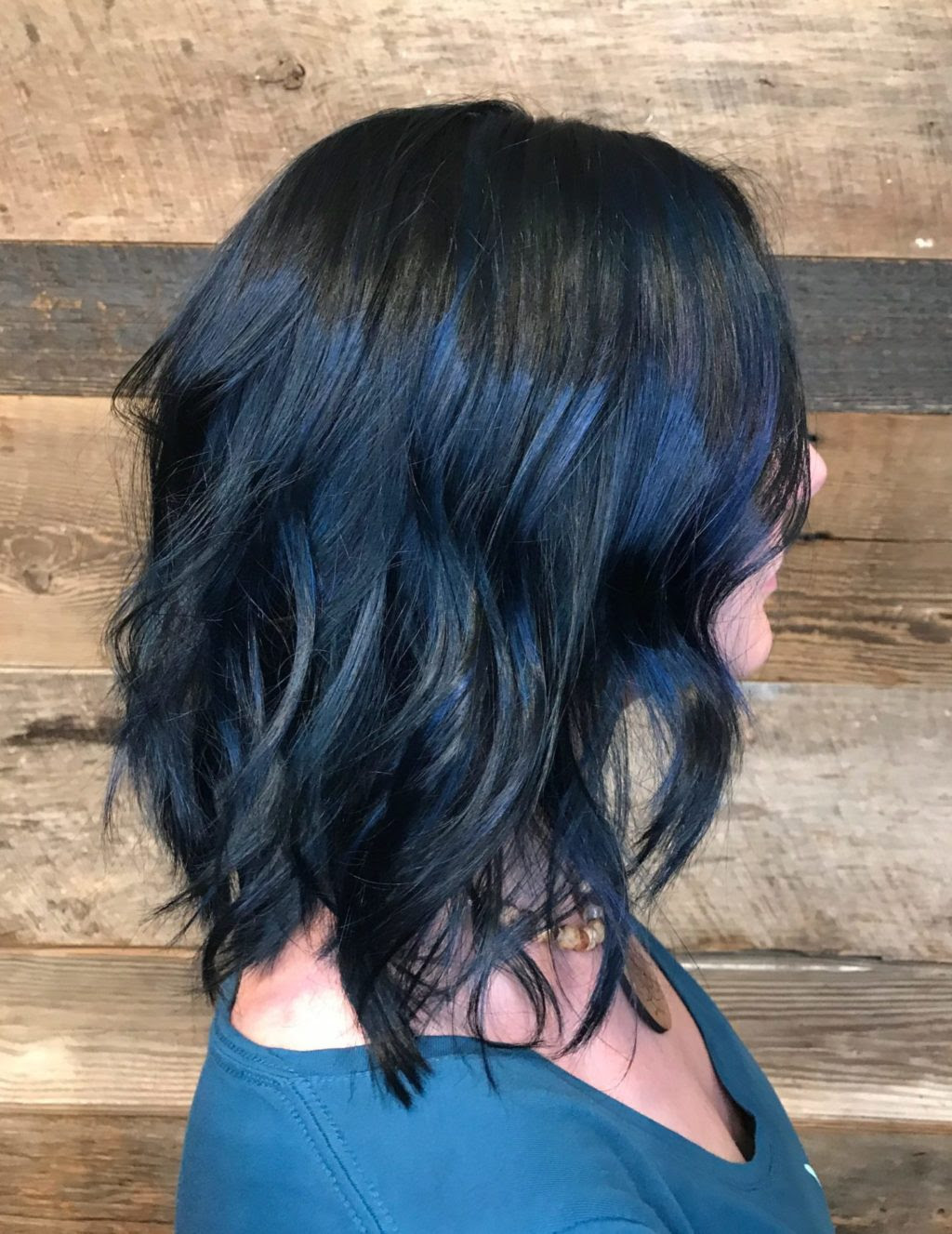 Midnight Blue Hair Color Lob Long Bob Textured Beach Waves Black
