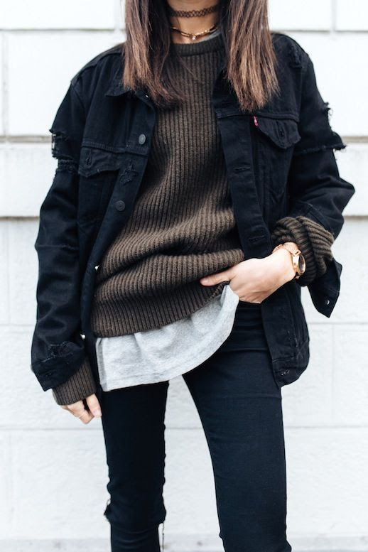 Le Fashion Blog Fall Blogger Style Choker Necklace Oversized Black Jean Jacket Brown Ribbed Knit Grey Tee Shirt Gold Chunky Watch Jeans Via Alex's Closet