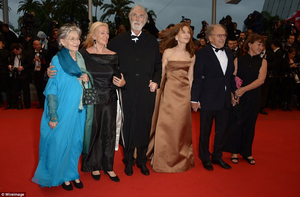 The stars of the show: Emmanuelle Riva, Susanne Haneke, director Michael Haneke, Isabelle Huppert, Jean-Louis Trintignant posed up together ahead of the screening