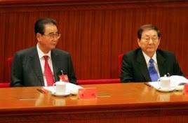 中国前总理李鹏和朱镕基2007年参加中共十七大开幕式