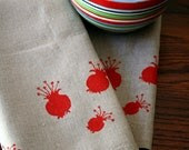 Red Poppy Pods. Natural Linen Tea Towel. Autumn Kitchen. - PonyAndPoppy