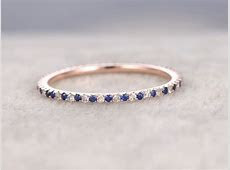 Sapphire and Diamond Wedding Rings 14k Rose Gold Thin Pave Half Eternity Band Annivery   BBBGEM