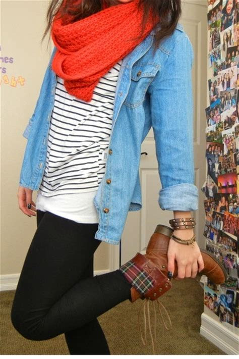 brown lace up boots, black leggings, striped shirt, denim