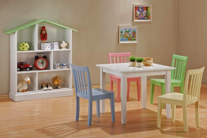 contrasting pastel chairs with white table and natural walls