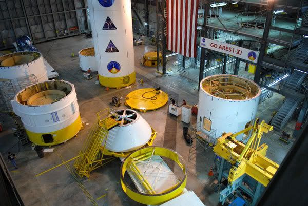 Assembly continues on the upper stage simulator of the Ares I-X rocket, inside Kennedy Space Center's Vehicle Assembly Building (VAB).